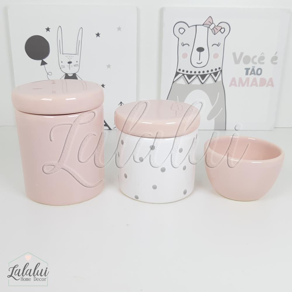 Kit de Potes | Branco e Rosa Candy com  Poás Cinza - P51
