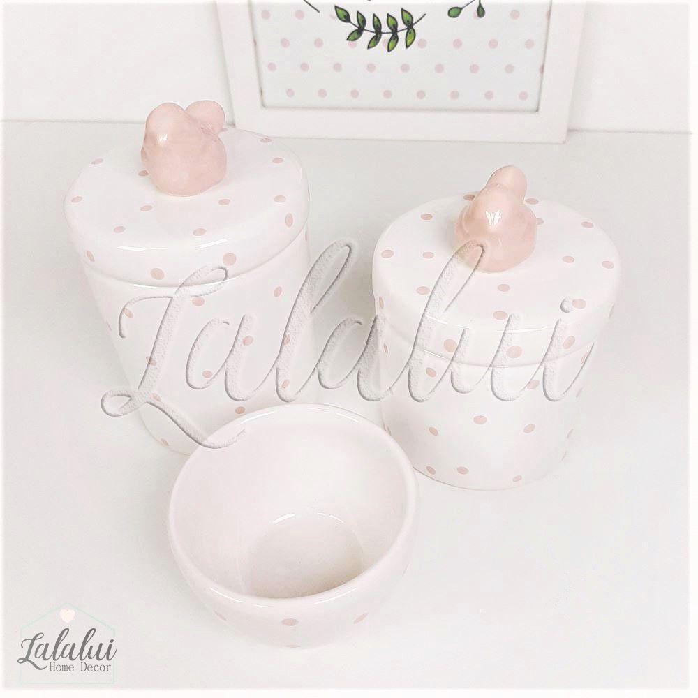 Kit de Potes | Branco e Rosa Candy com Poás Rosa e Aplique de Passarinho - P66