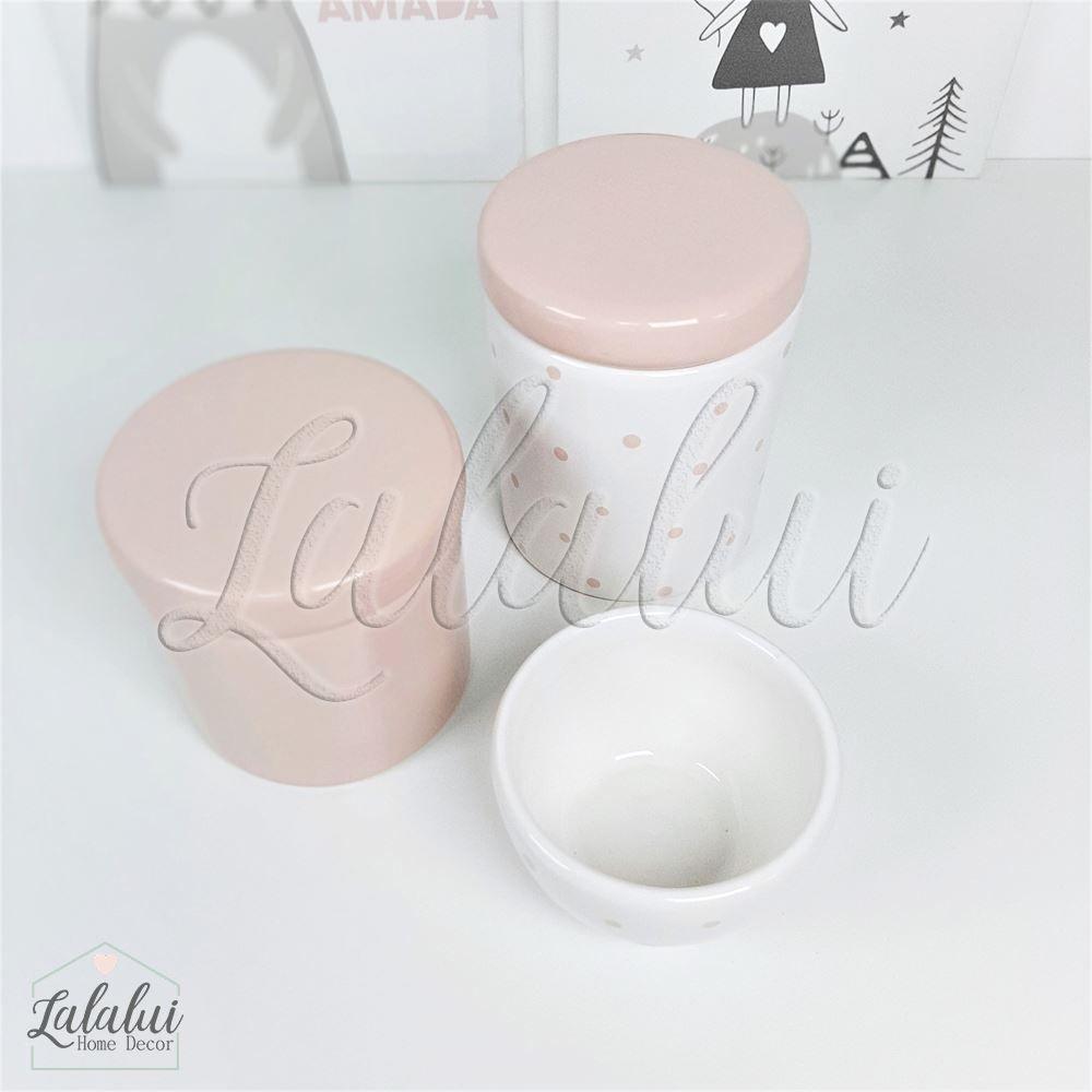 Kit de Potes | Branco e Rosa com Poás Rosa - P11