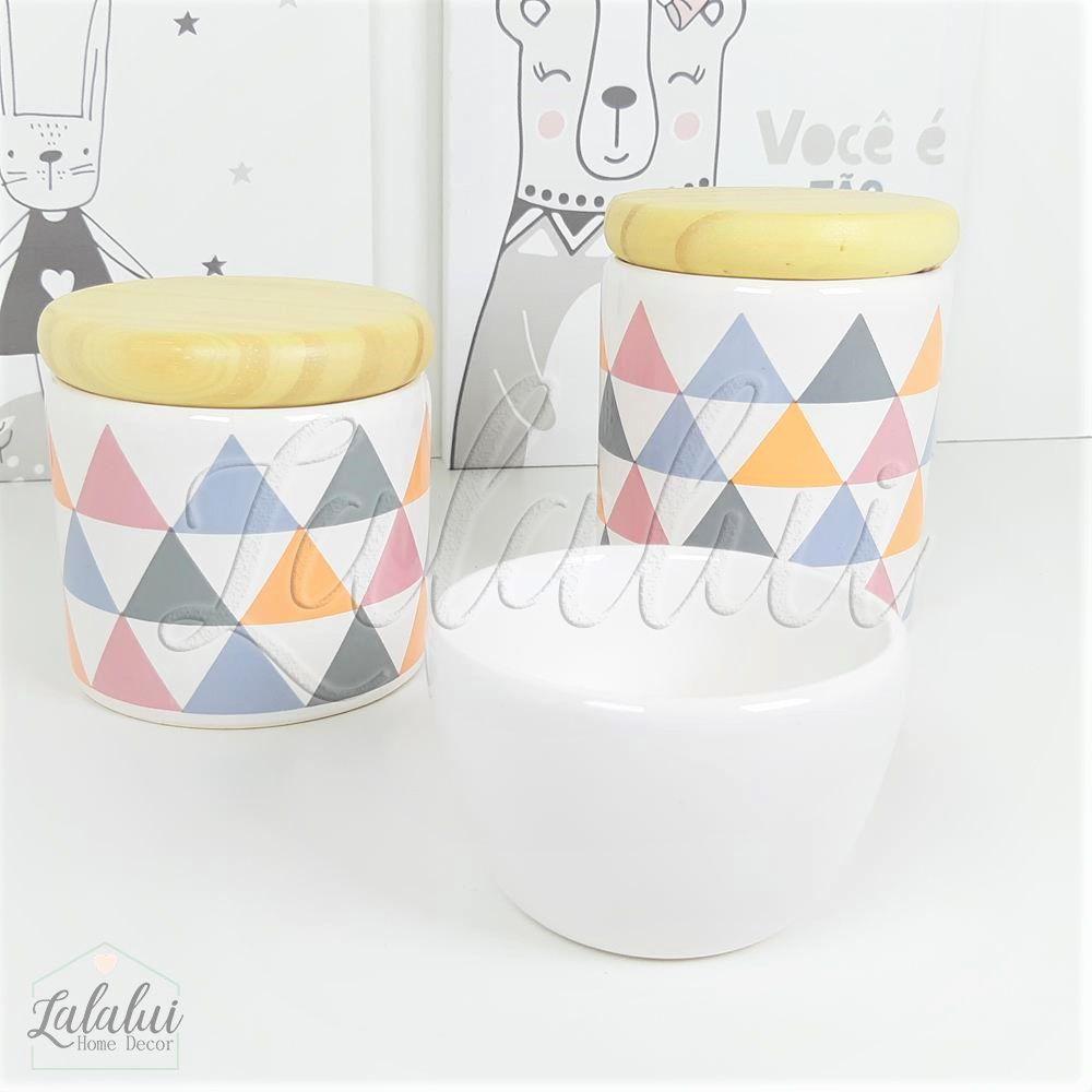 Kit de Potes | Branco e Rosa com Triângulos e tampa de madeira (LA1169)