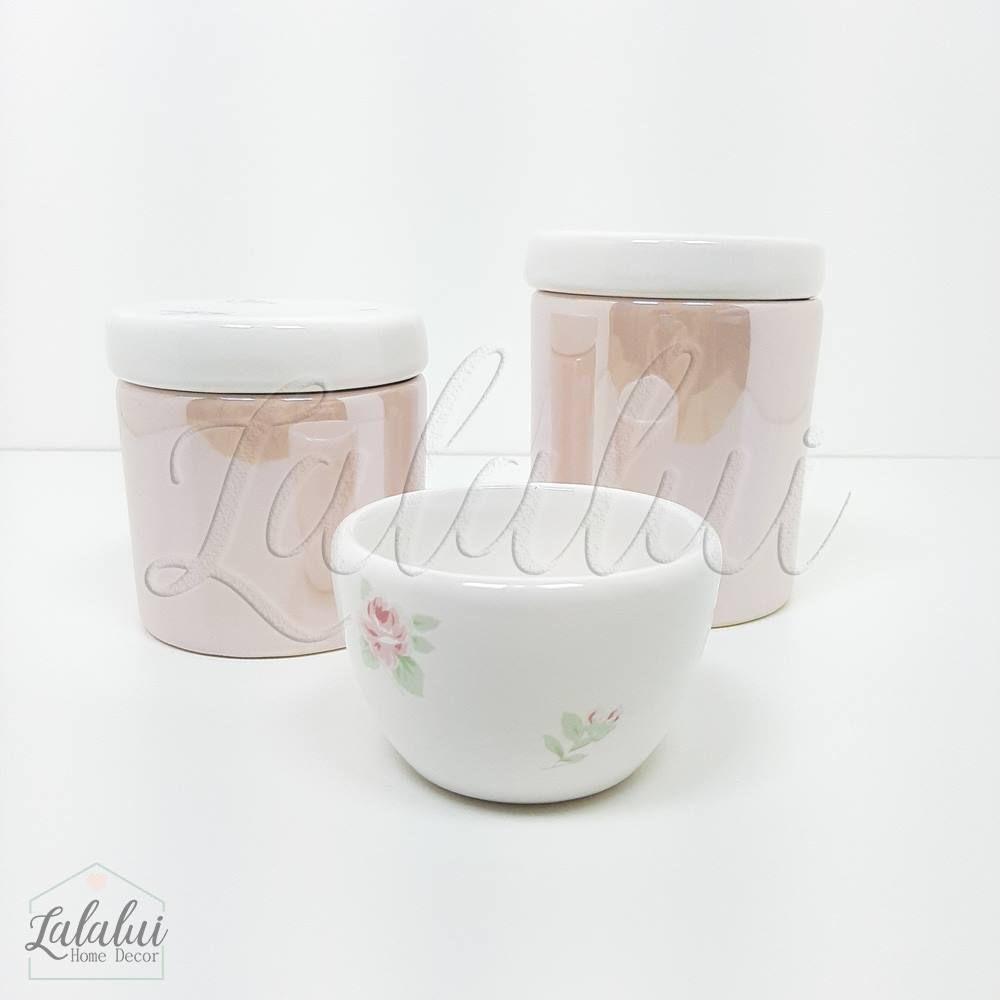 Kit de Potes | Branco e Rosa Perolado com Floral (LA1053)