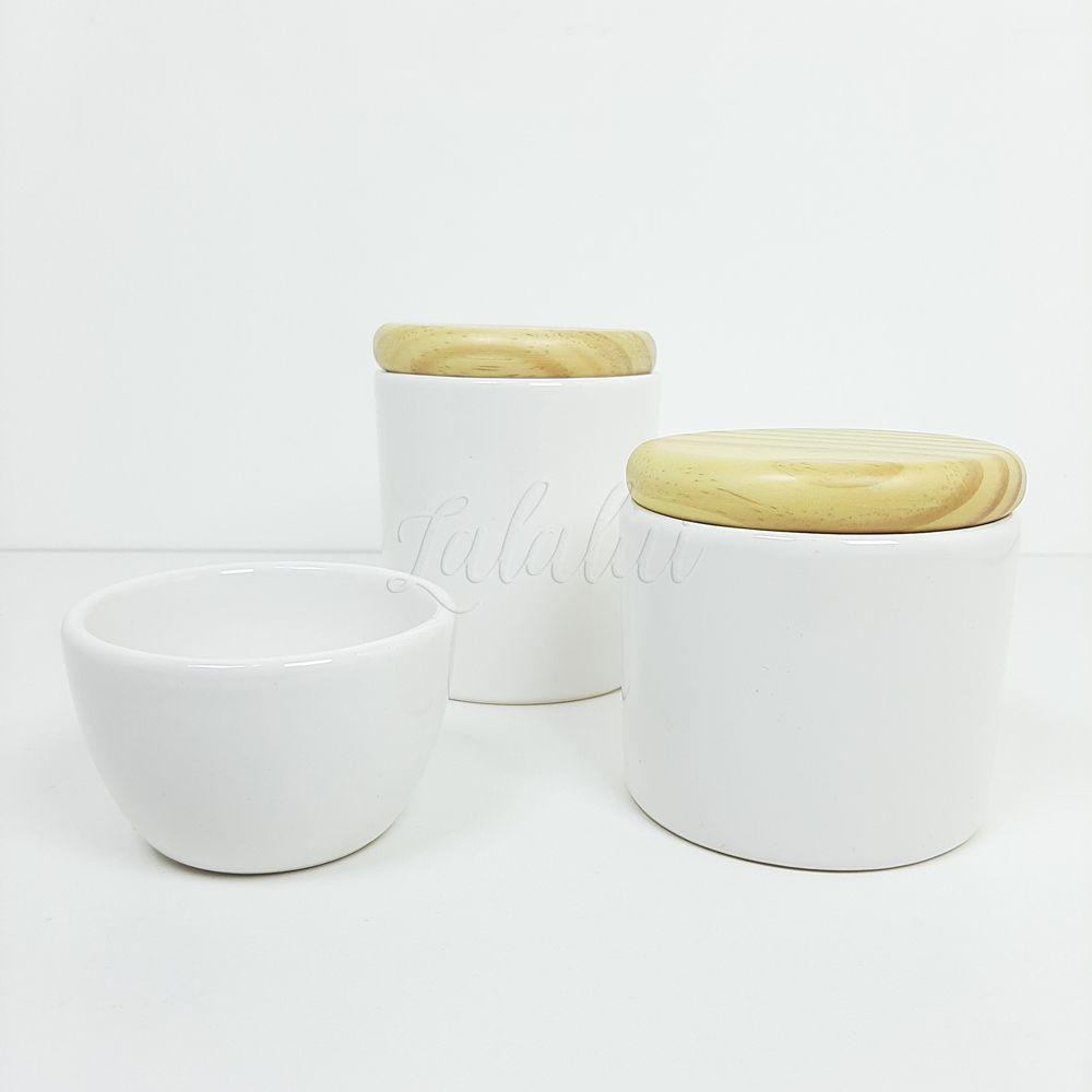 Kit de Potes   Branco e Tampa de Madeira (LA0306)