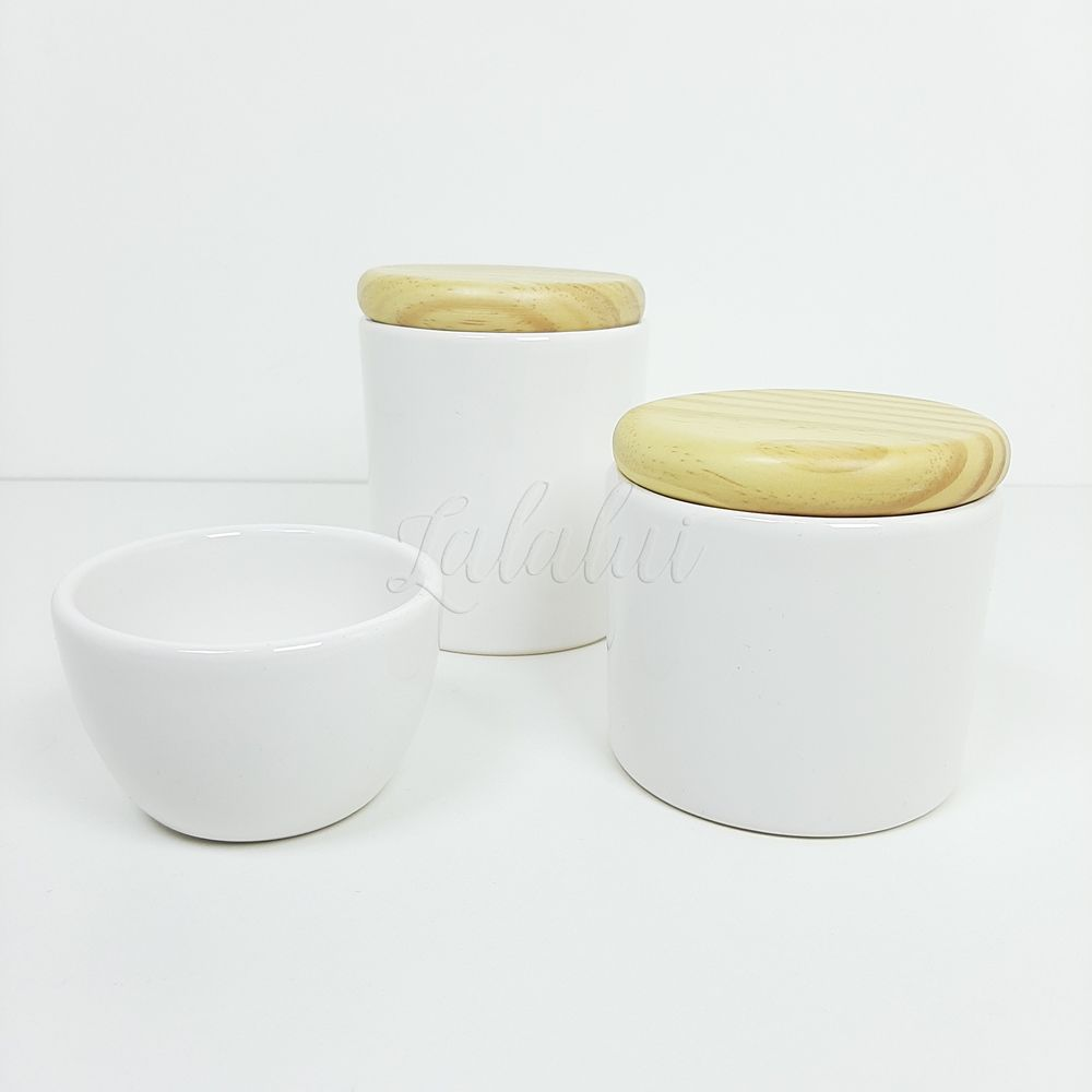 Kit de Potes | Branco e Tampa de Madeira (LA0306)