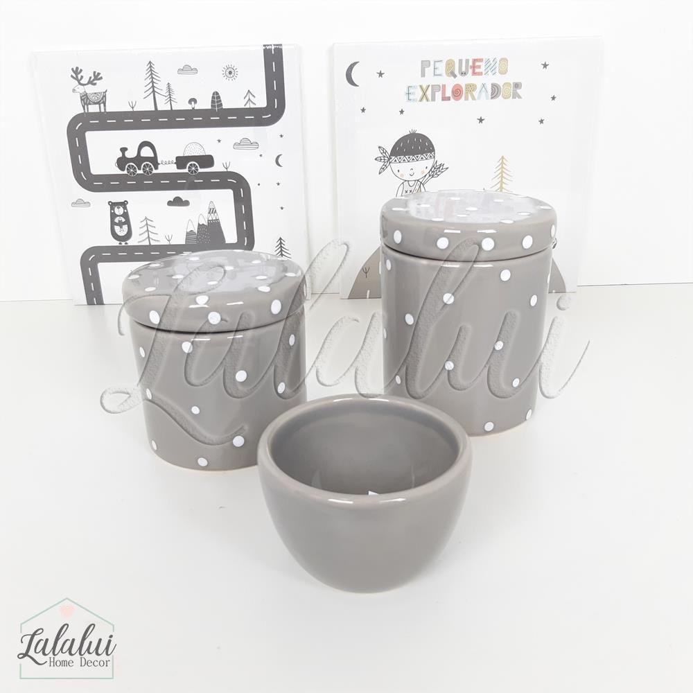 Kit de Potes   Cinza com Poás Brancos - P49