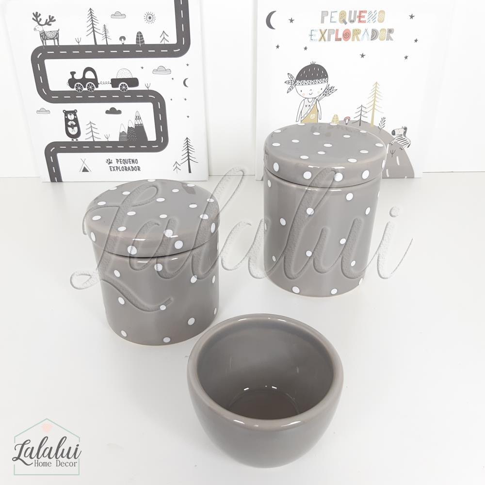 Kit de Potes | Cinza com Poás Brancos - P49