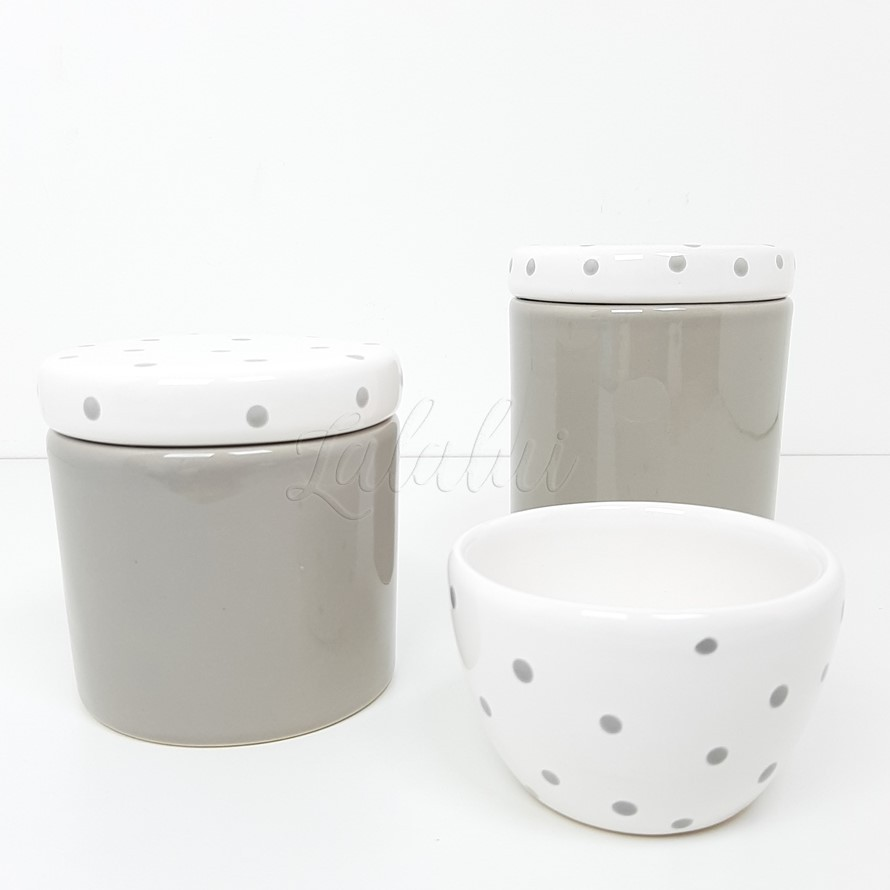 Kit de Potes |  Cinza e Branco com Poá Cinza (LA2283)