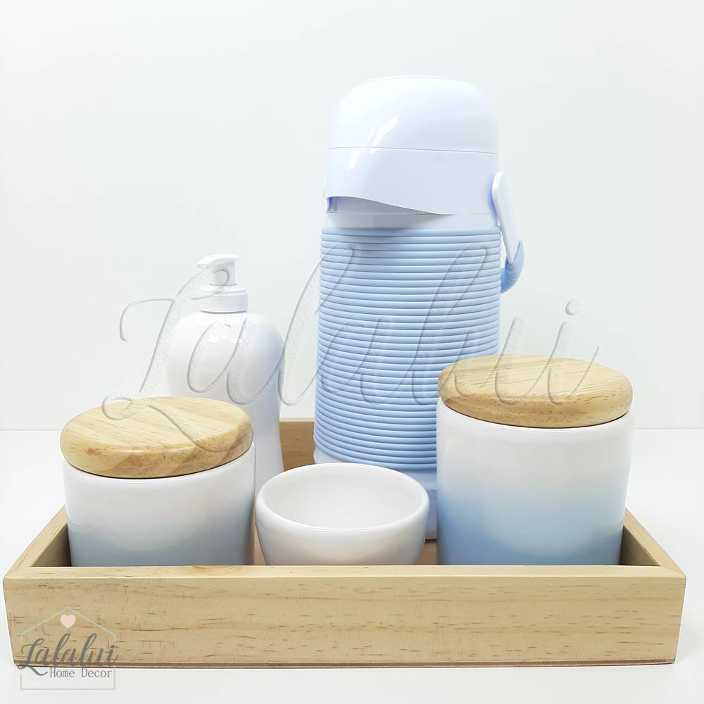 Kit de Potes   Degradê azul com tampa de madeira pinus (LA2069)