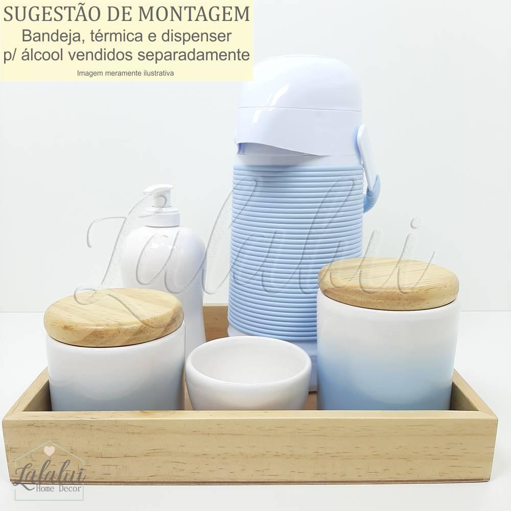 Kit de Potes | Degradê azul com tampa de madeira pinus (LA2069)