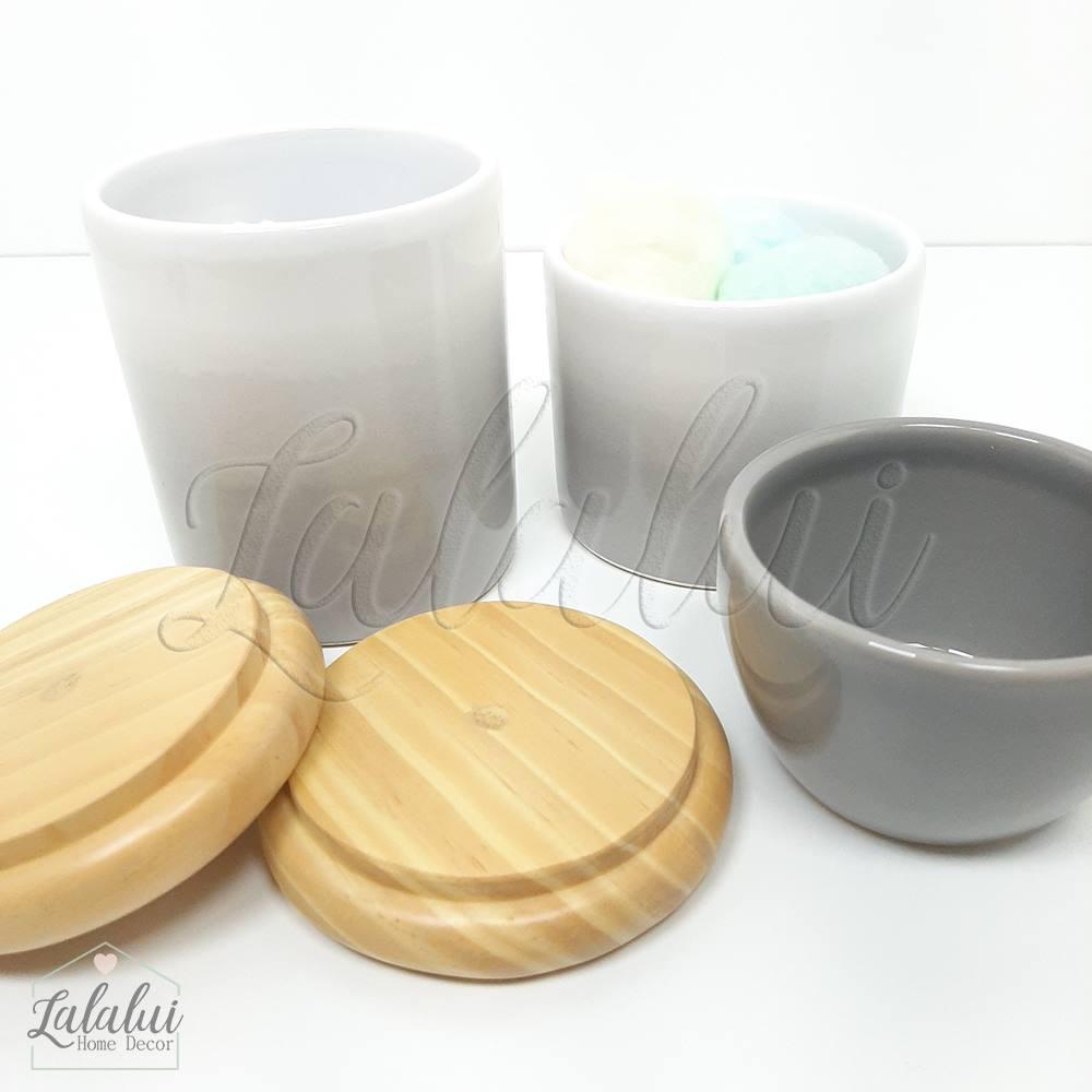Kit de Potes | Degradê cinza com tampa de madeira pinus (LA2065)