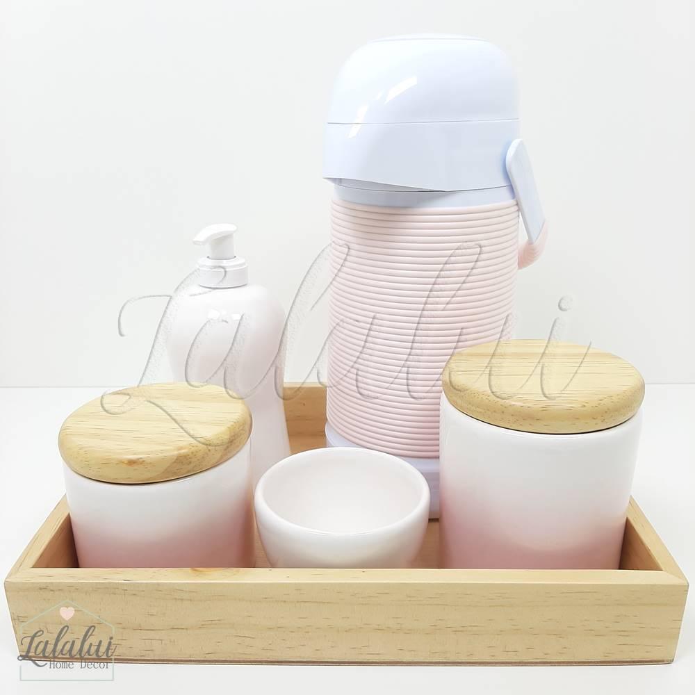 Kit de Potes | Degradê rosa com tampa de madeira pinus (LA2067)