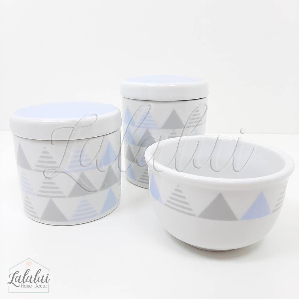 Kit de Potes | Geométrico Azul e Cinza (LA2059)