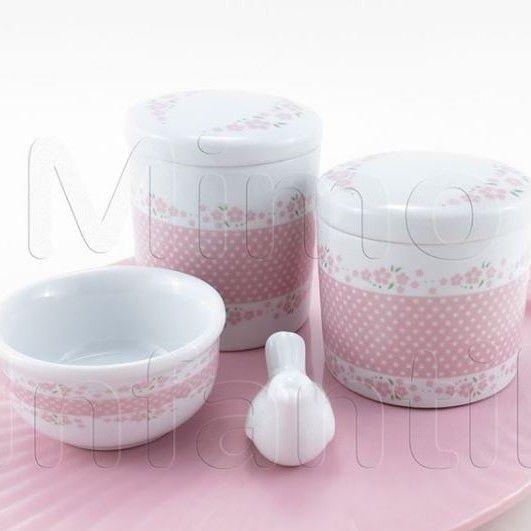 Kit de Potes | Kit de Potes | Floral 10 rosa em porcelana - P70