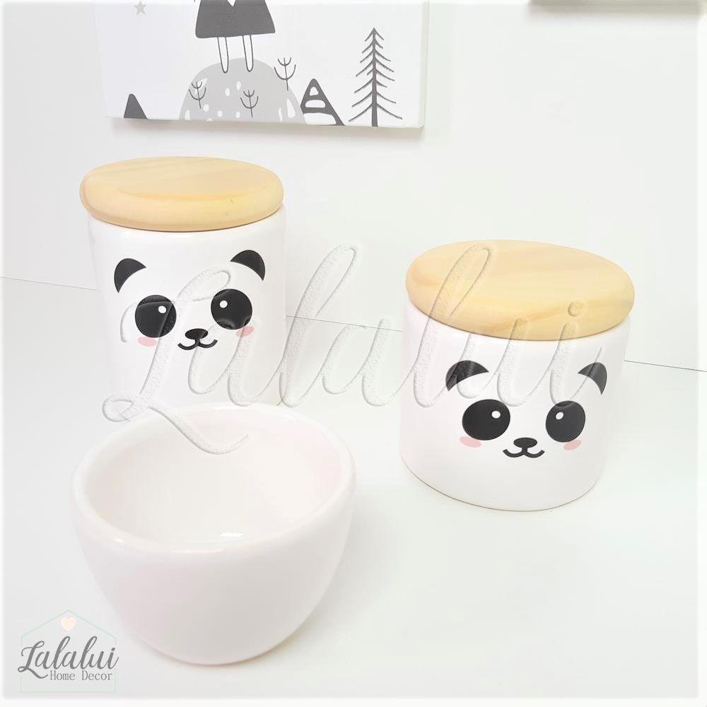 Kit de Potes | Panda e Tampa de Madeira - P46