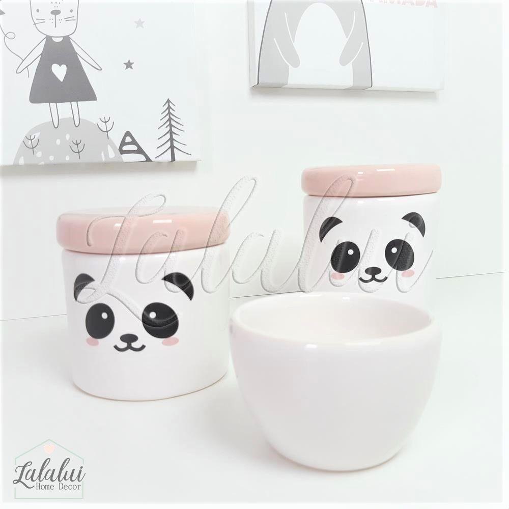 Kit de Potes | Panda e Tampa Rosa Candy - P47