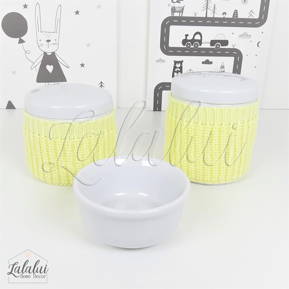 Kit de Potes | Porcelana Branca com capinhas de tricot amarela - P60