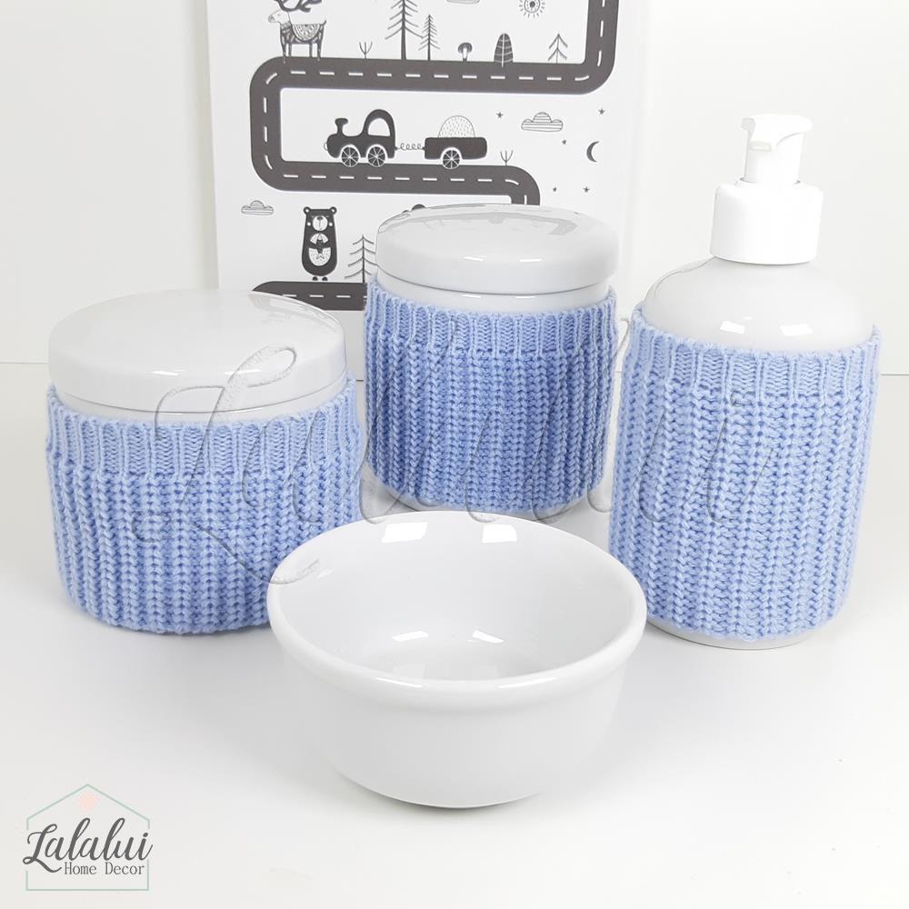 Kit de Potes | Porcelana Branca com capinhas de tricot azul - P58