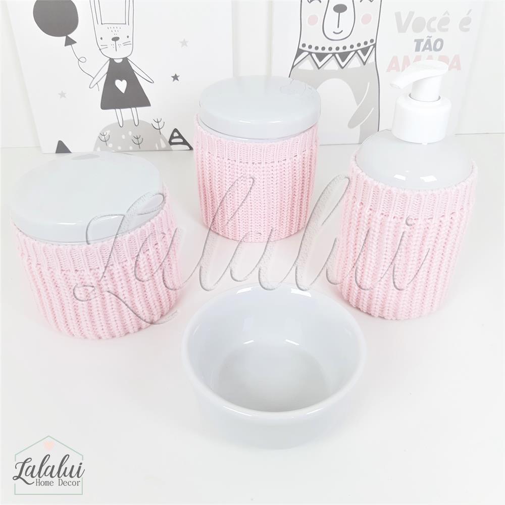 Kit de Potes | Porcelana Branca com capinhas de tricot rosa- P59