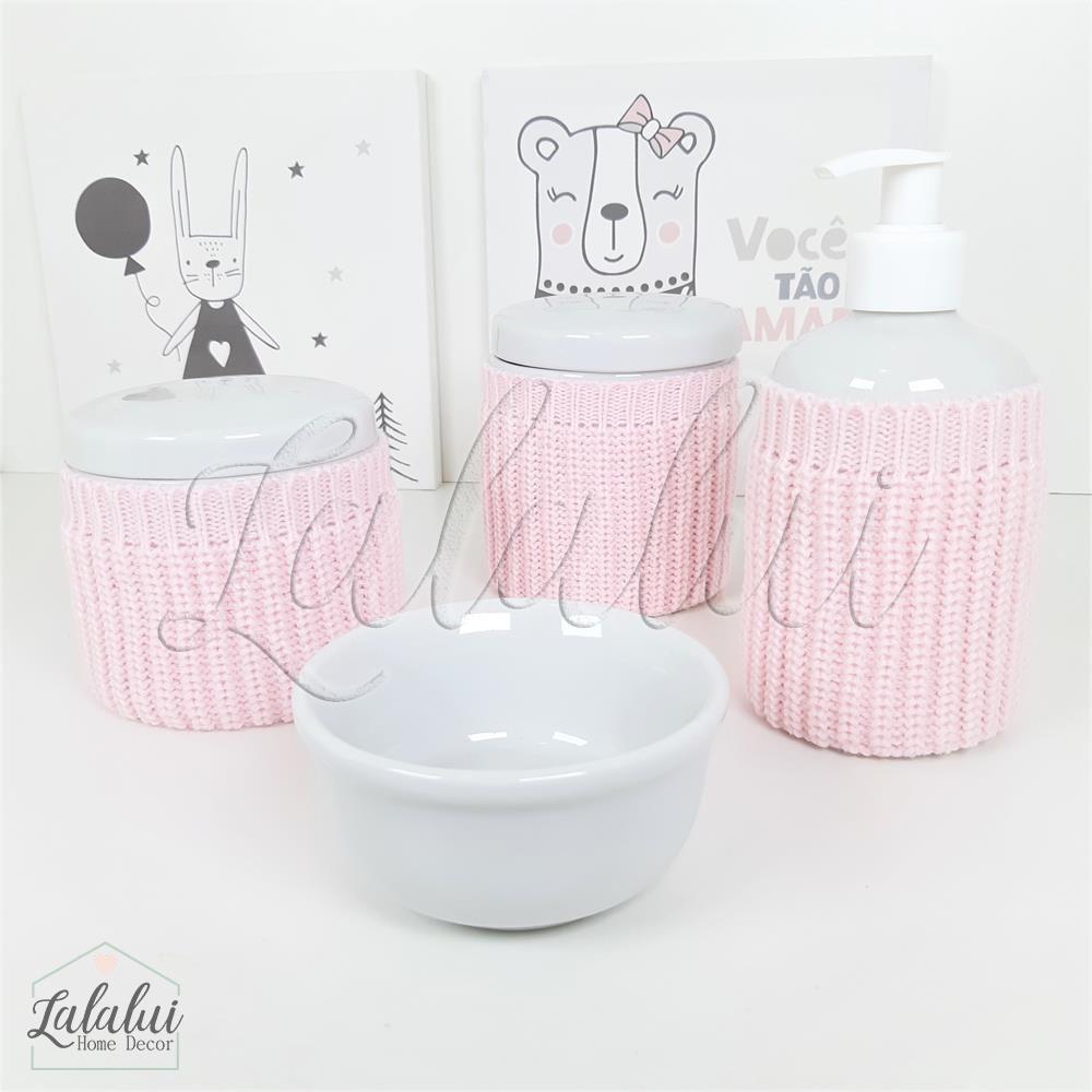 Kit de Potes   Porcelana Branca com capinhas de tricot rosa- P59