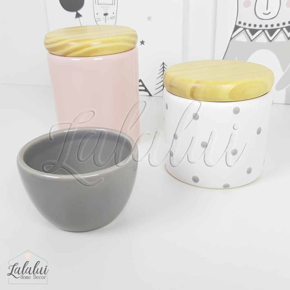 Kit de Potes | Rosa Candy, Cinza e Branco com Poás e Tampa de Madeira - P55