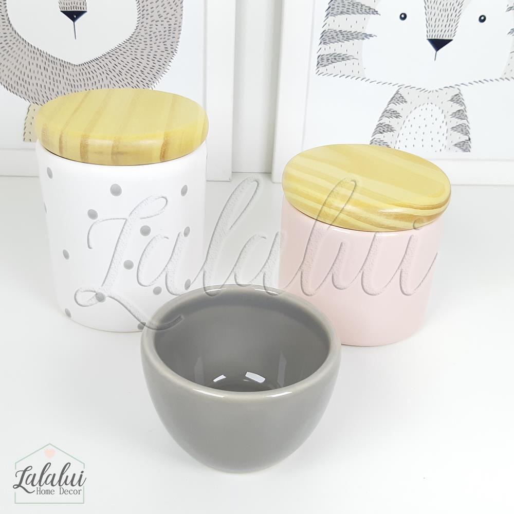 Kit de Potes   Rosa Candy, Cinza e Branco com Poás e Tampa de Madeira - P55