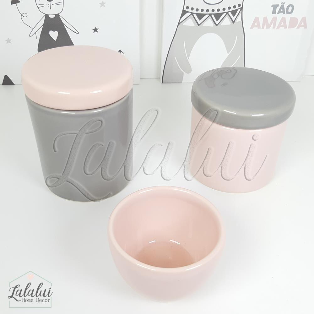 Kit de Potes | Rosa Candy e Cinza - P56