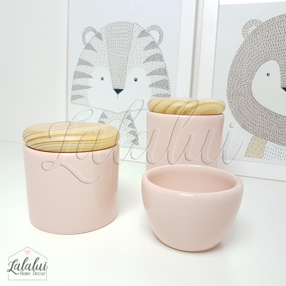 Kit de Potes | Rosa Candy e Tampa de Madeira (LA0307)