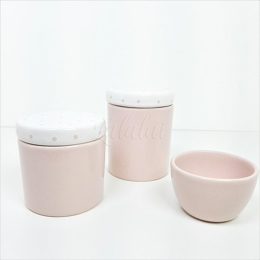 Kit de Potes   Rosa e Branco com Poás (LA1113)