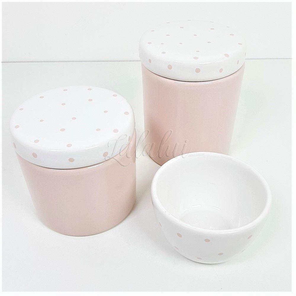 Kit de Potes | Rosa e Branco com Poás (LA1113)