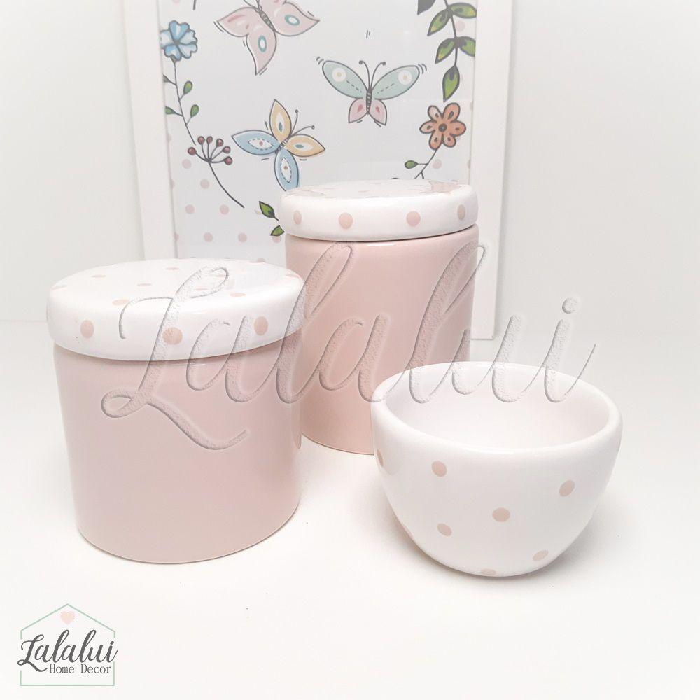 Kit de Potes | Rosa e Branco com Poás - P41