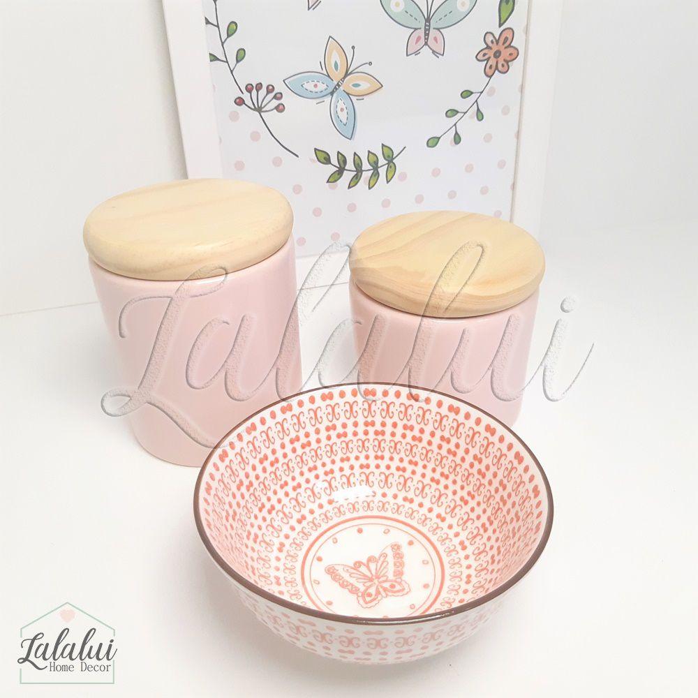 Kit de Potes | Rosa e Estampa com Tampas de Madeira - P42