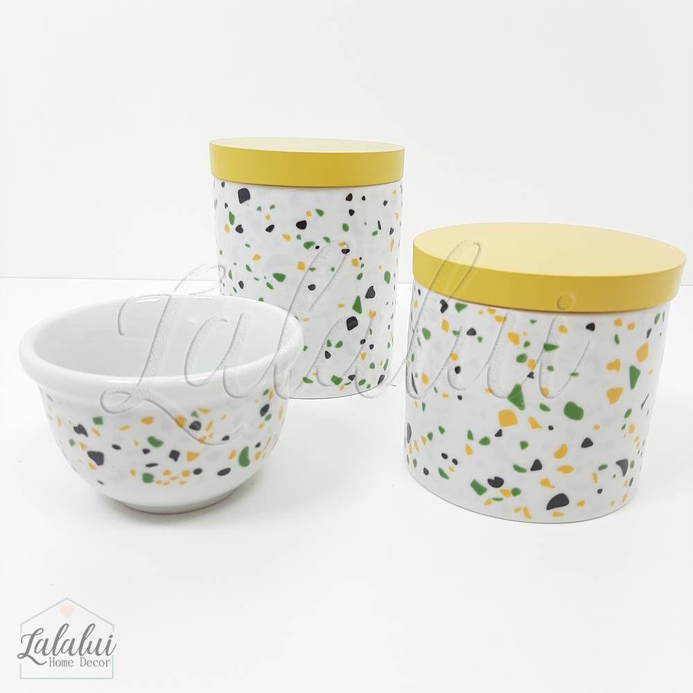 Kit de Potes | Terrazo Verde e Amarelo (LA2073)
