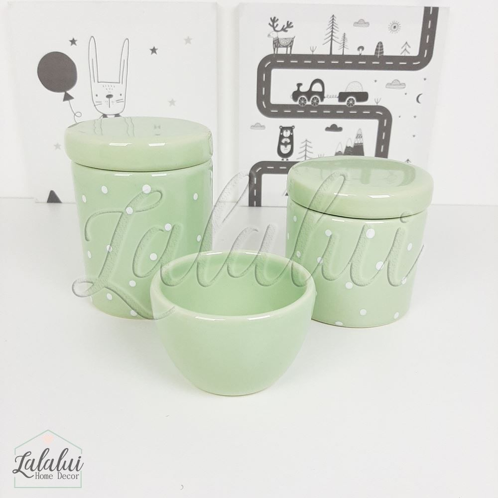 Kit de Potes | Verde Menta com  Poás Brancos - P72