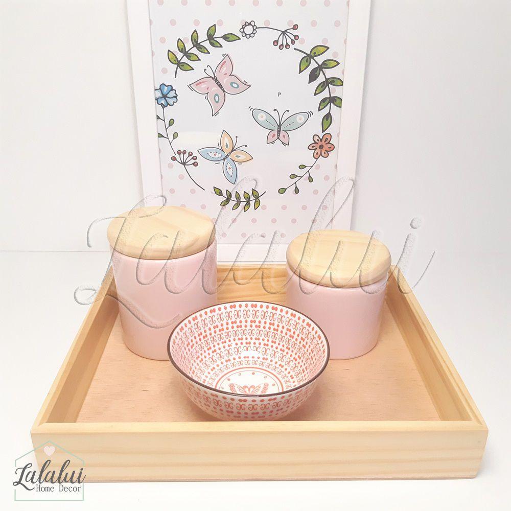 Kit Higiene 4 peças | Rosa candy e bowl estampado com tampas de madeira K08