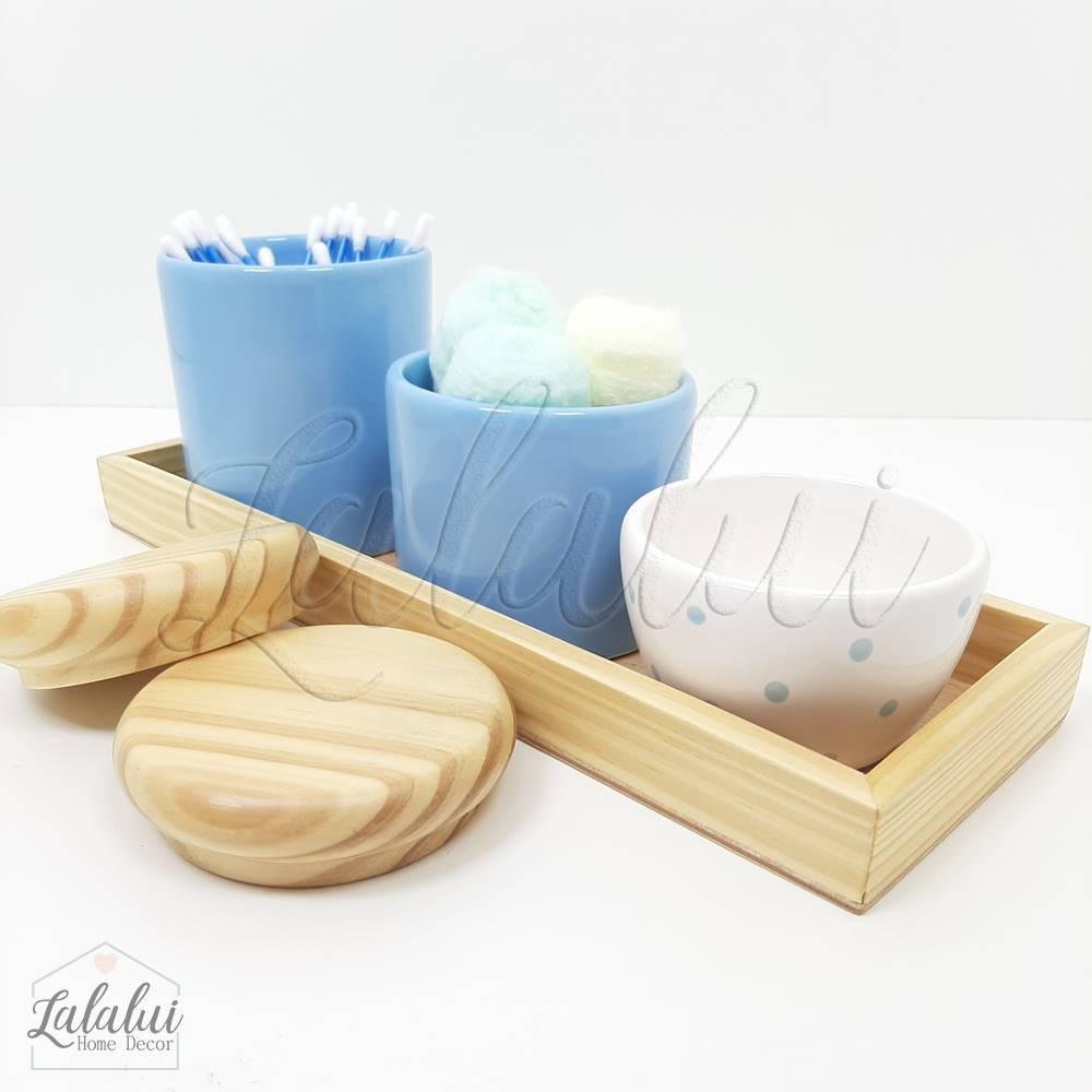 Kit Higiene | Azul Bebê e Madeira Natural (LA2193)