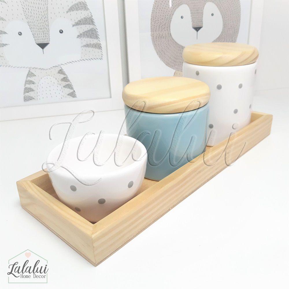 Kit Higiene Azul Candy e Branco com poás e Madeira Natural K02