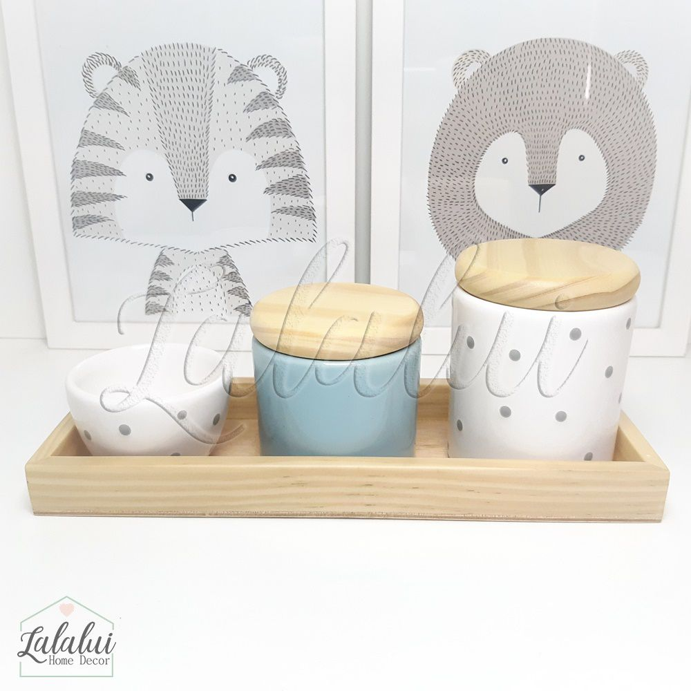 Kit Higiene Azul Candy e Branco com poás e Madeira Natural K02 (Quarto Menino e Menina)