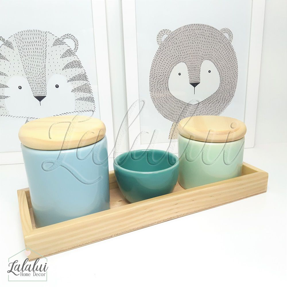 Kit Higiene Azul Candy, Verde Menta e Turquesa e Madeira Natural K03
