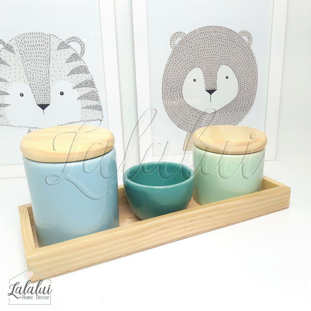 Kit Higiene Azul Candy, Verde Menta e Turquesa e Madeira Natural K03 (Quarto Menino e Menina)