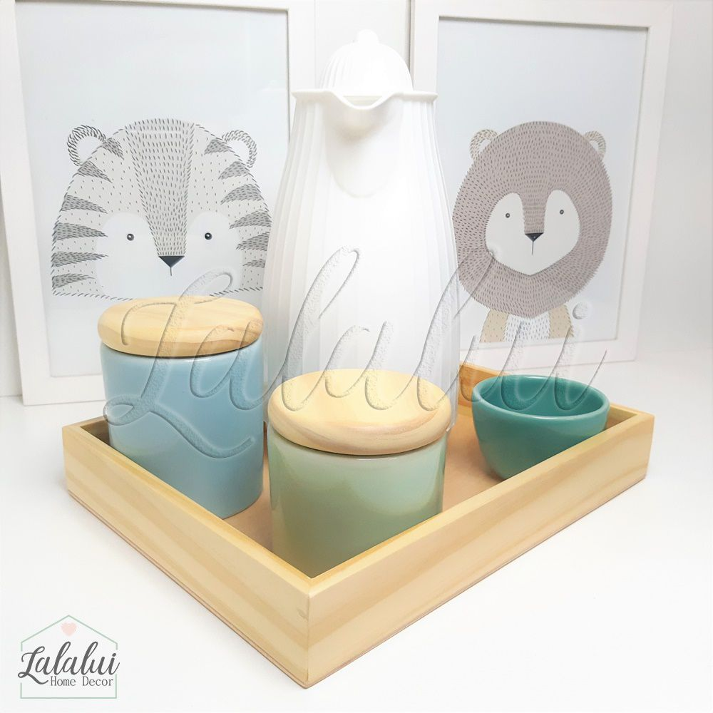 Kit Higiene Azul Candy, Verde Menta e Turquesa e Madeira Natural K04