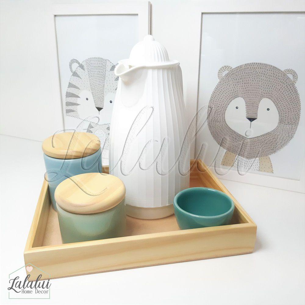 Kit Higiene Azul Candy, Verde Menta e Turquesa e Madeira Natural K04 (Quarto Menino e Menina)