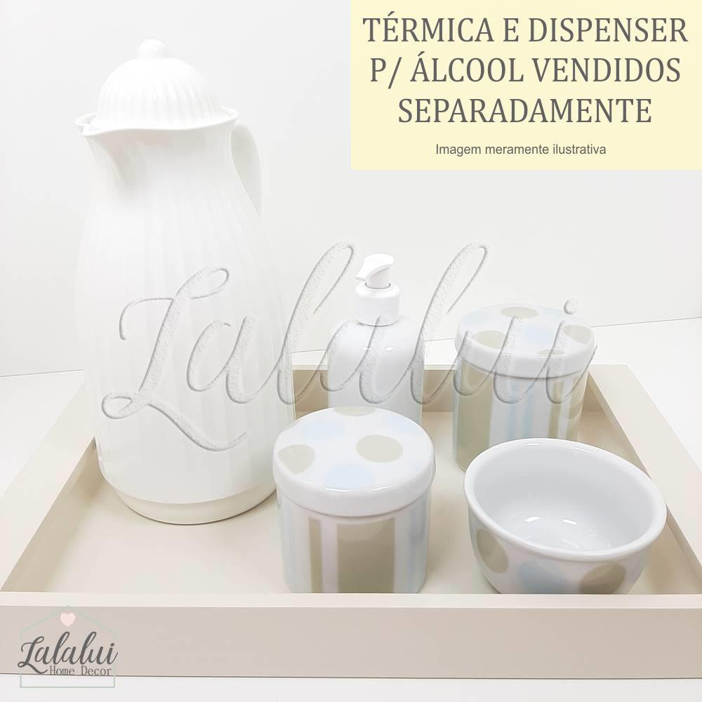 Kit Higiene | Bolas e Listras Azul e Bege (LA2057)