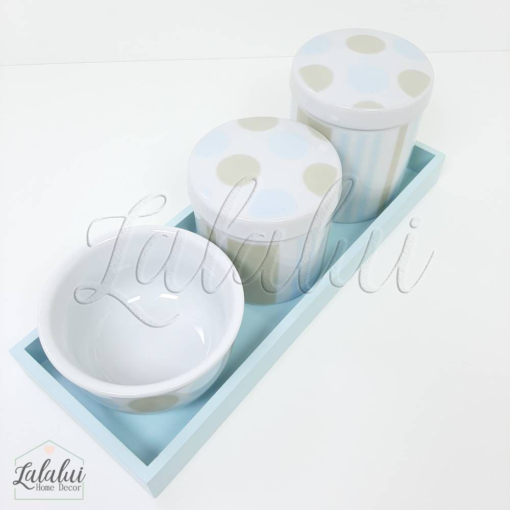 Kit Higiene | Bolas e Listras Azul e Bege (LA2199)