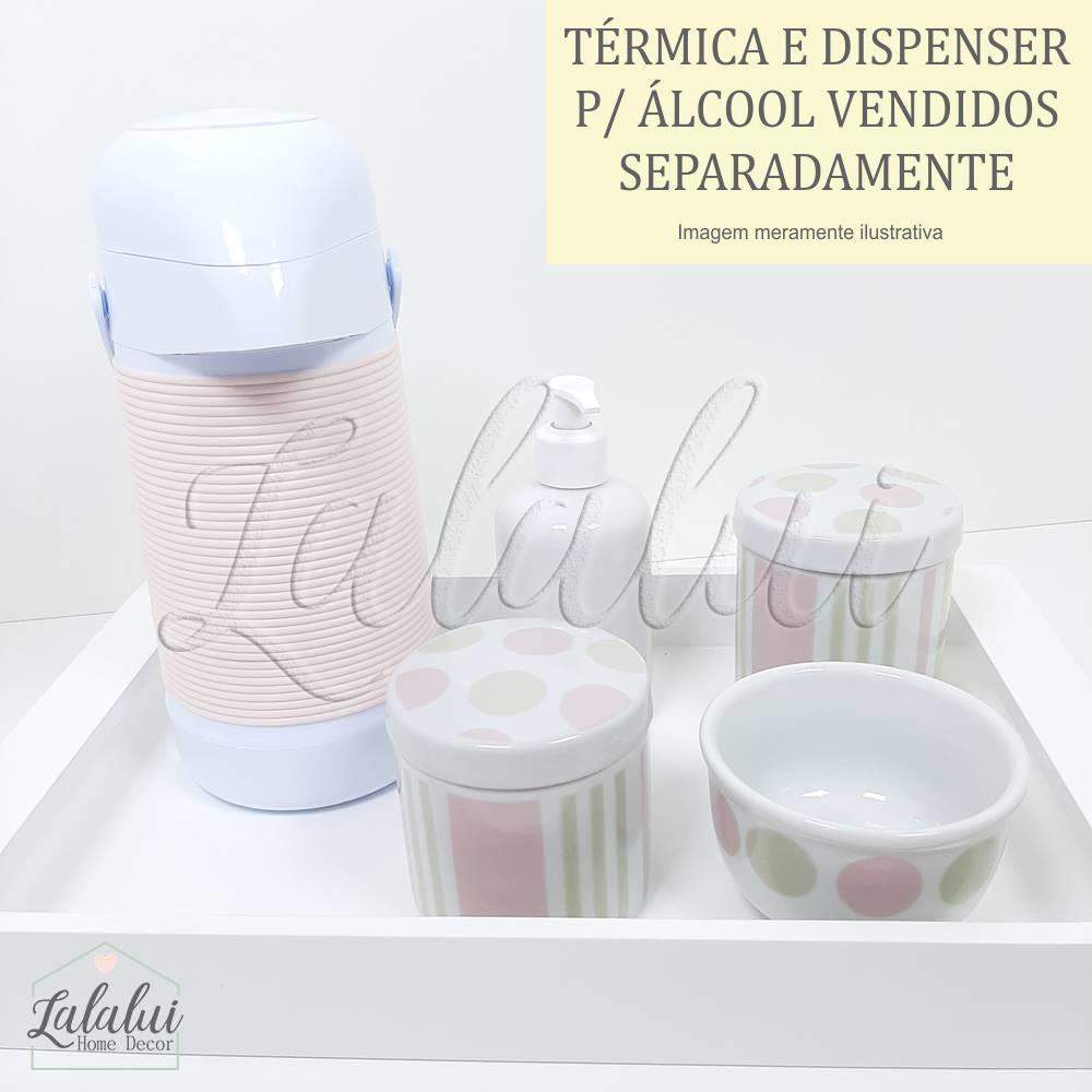 Kit Higiene | Bolas e Listras Rosa e Bege (LA2063)