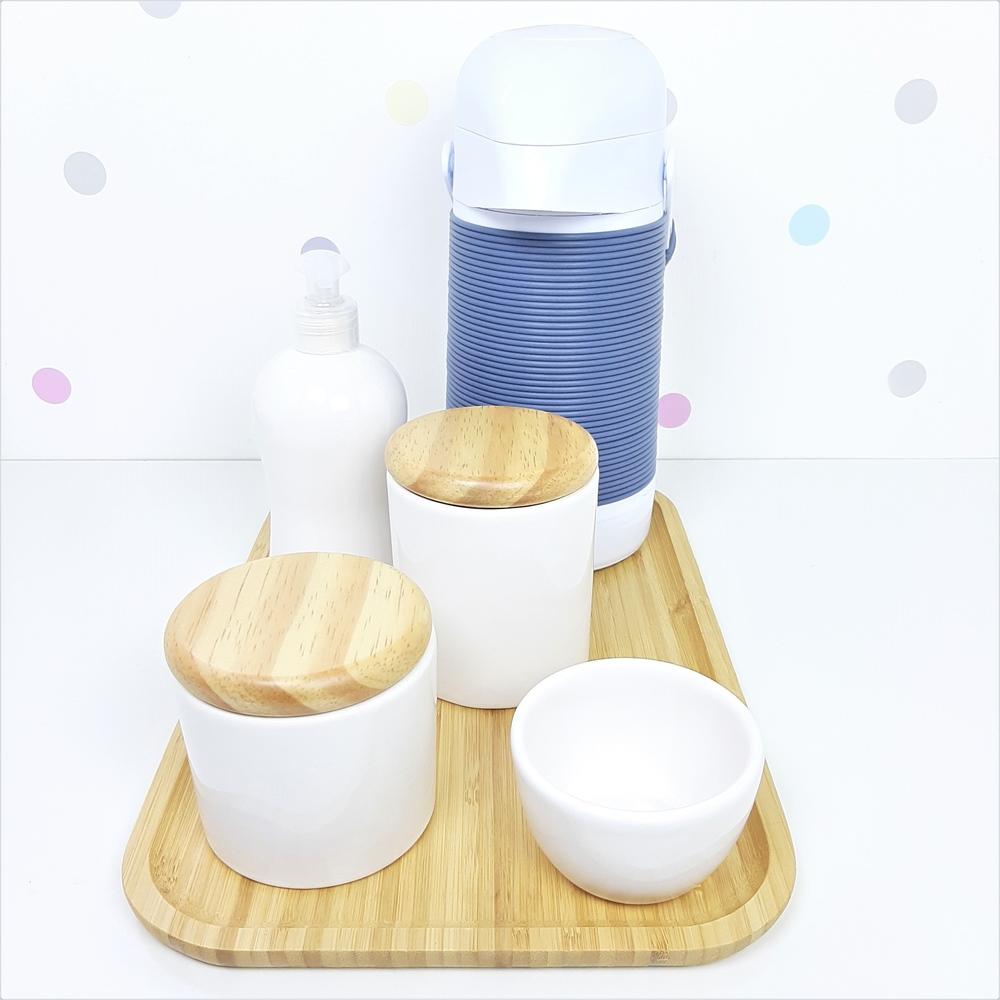 Kit Higiene | Branco com Bandeja de Bambu e Garrafa (LA2331)