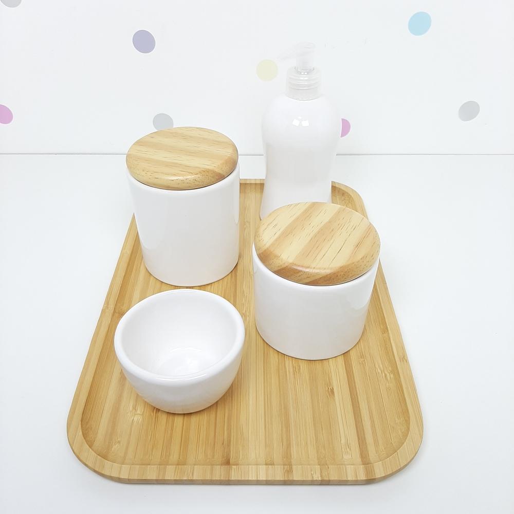 Kit Higiene | Branco com Bandeja de Bambu (LA2313)