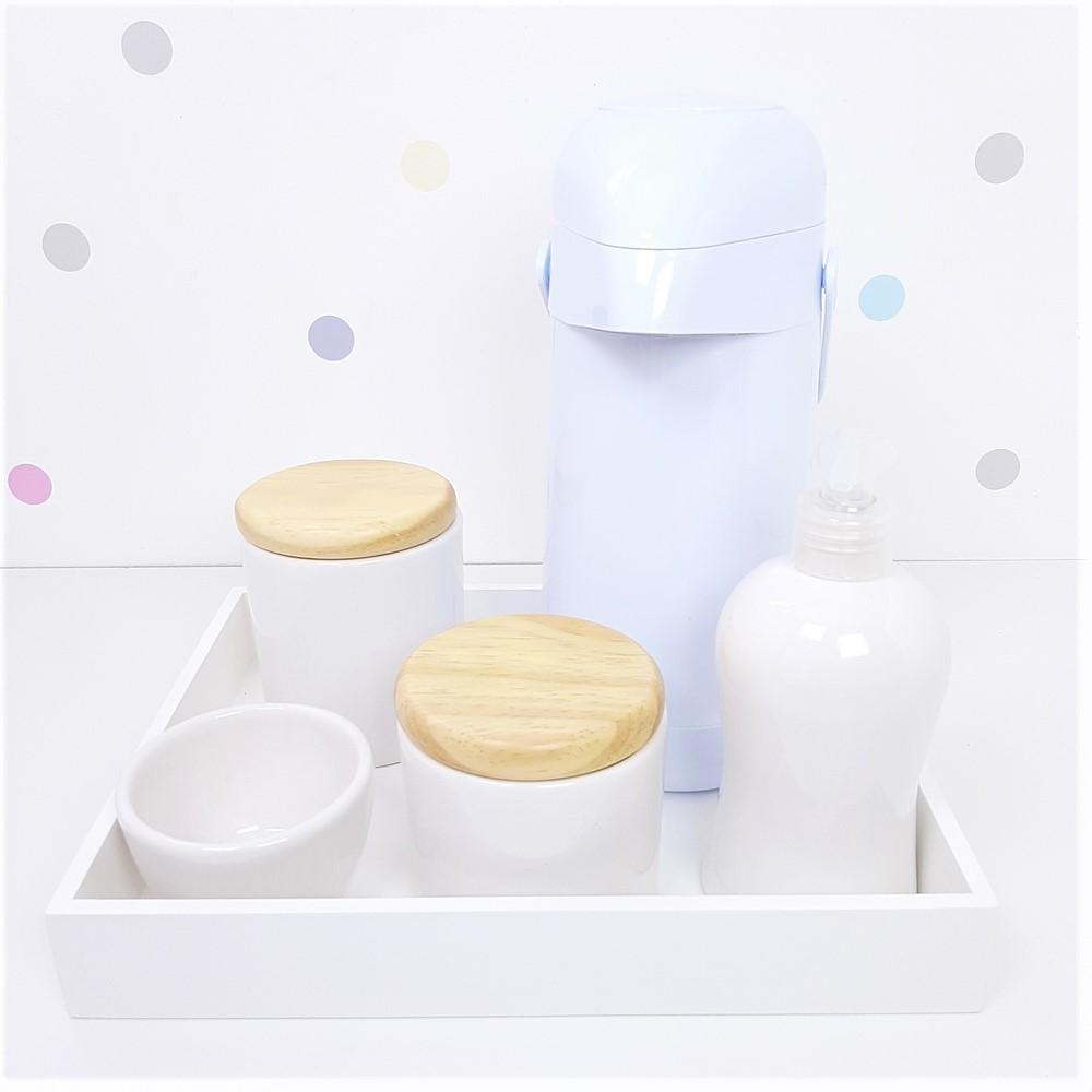 Kit Higiene | Branco com Bandeja de Mdf e Garrafa Branca (LA2341)