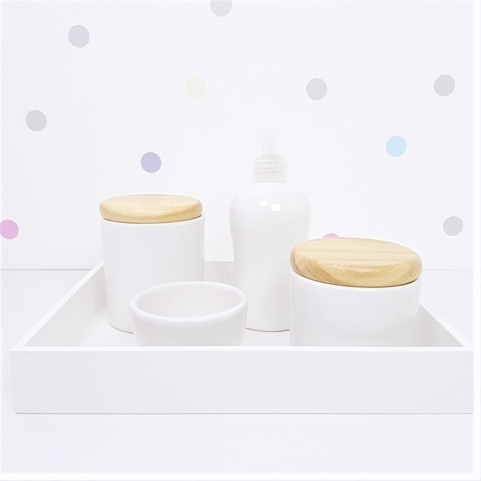 Kit Higiene | Branco com Bandeja de Mdf (LA2359)