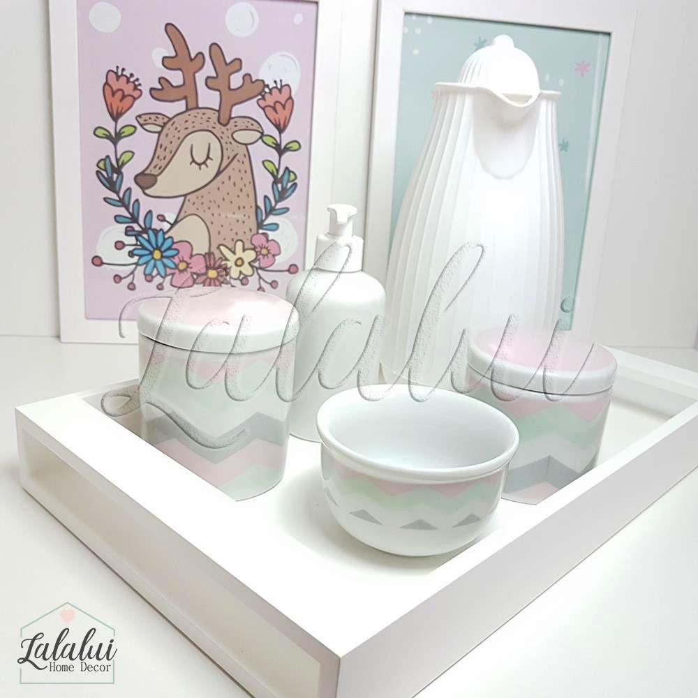 Kit Higiene Branco com Chevron Rosa, Cinza e Verde  K46