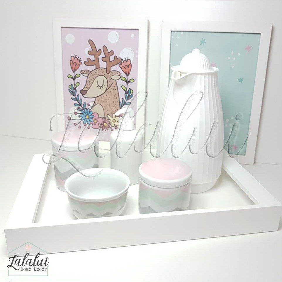 Kit Higiene Branco com Chevron Rosa, Cinza e Verde  K46 (Quarto Menina)