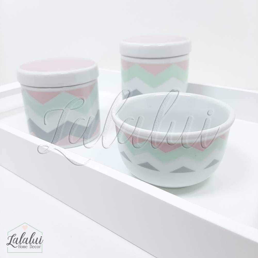 Kit Higiene | Branco com Chevron Rosa, Cinza e Verde (LA302)